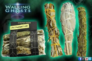Smudging Set, Sage Mugwort Cedar Herb Sticks Paranormal Cleansing Ritual